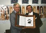 Norris McWhirter and Roy Castle with Biggest Dog Pawprint